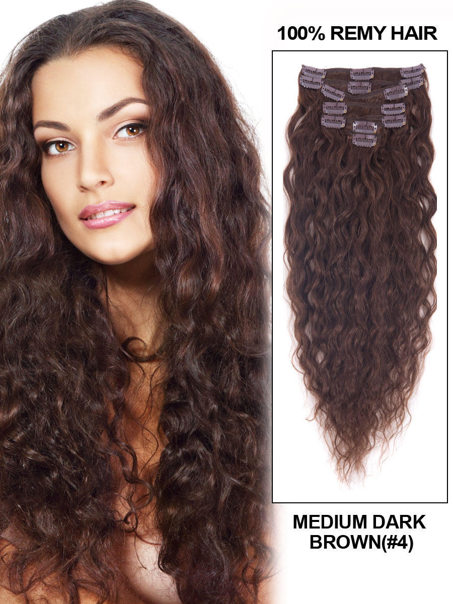 24 Inch 4 Medium Brown Clip In Hair Extensions French Wavy 11 Pcs