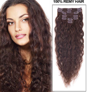 24 Inch #4 Medium Brown Clip In Hair Extensions Full French Wavy 9 Pcs