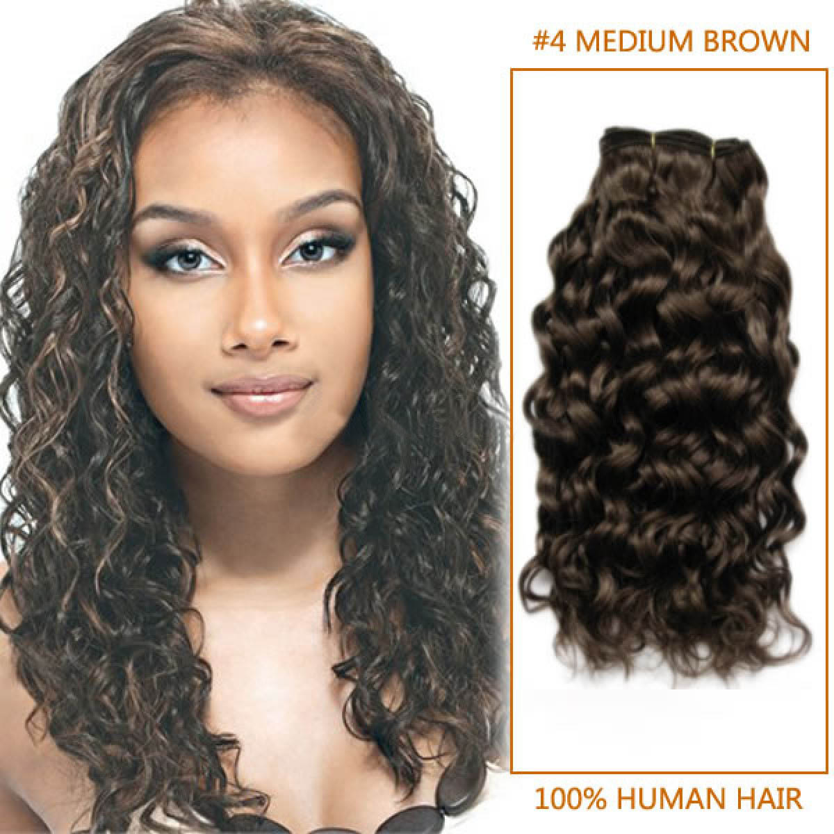 24 Inch 4 Medium Brown Curly Brazilian Virgin Hair Wefts
