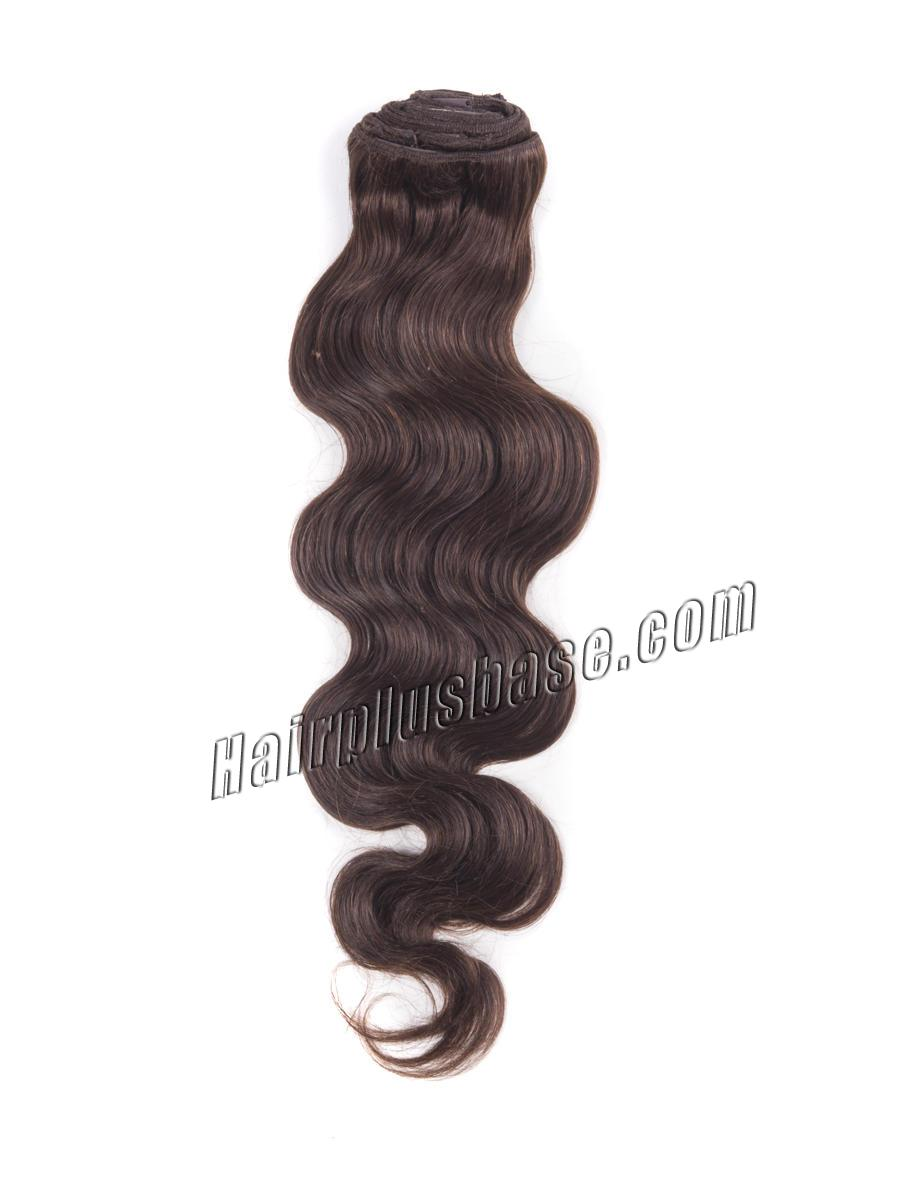 24 Inch #4 Medium Brown High Quality Clip In Indian Remy Human Hair Extensions Body Wave 7 Pcs no 1