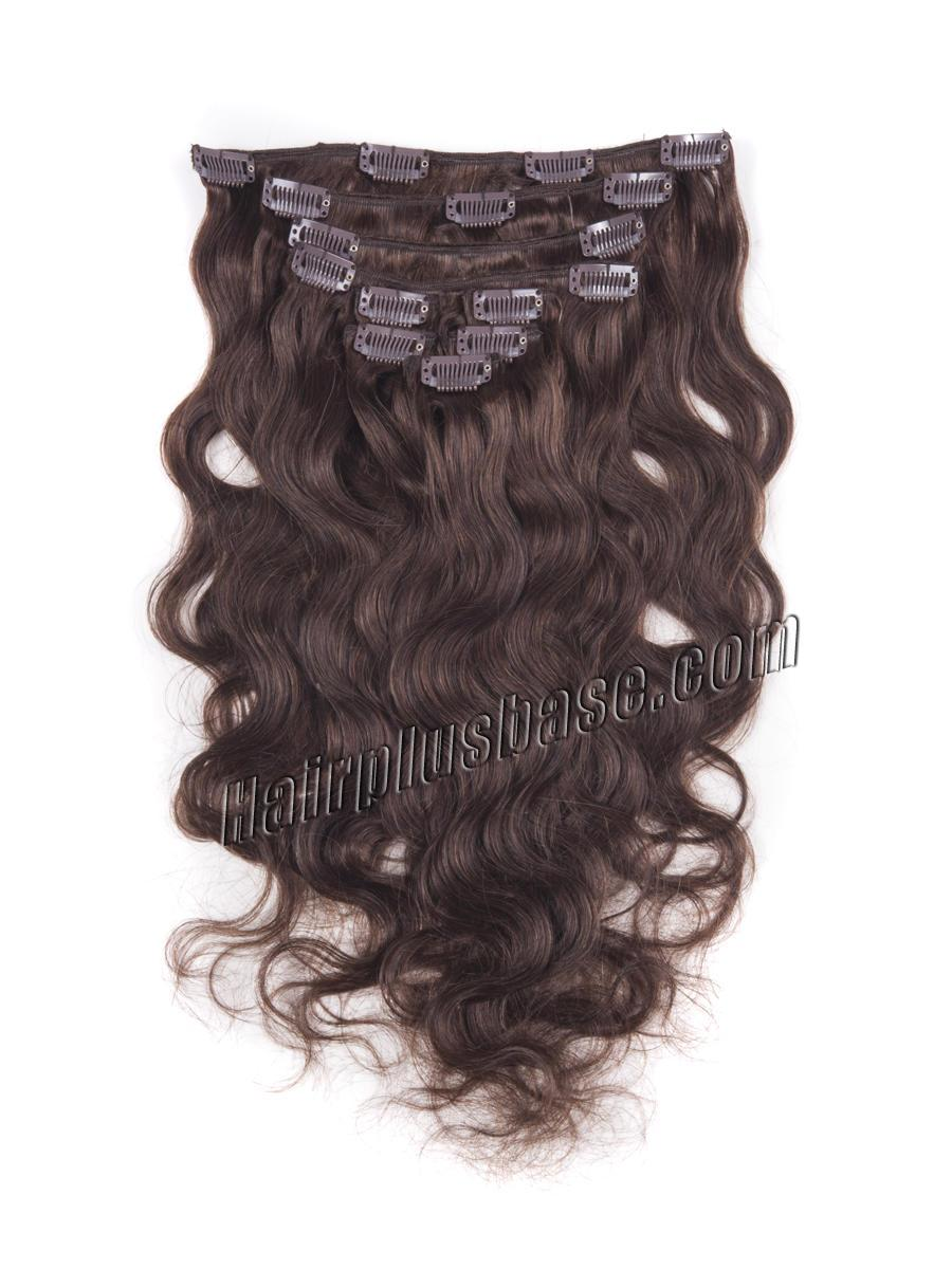 24 Inch #4 Medium Brown High Quality Clip In Indian Remy Human Hair Extensions Body Wave 7 Pcs no 2