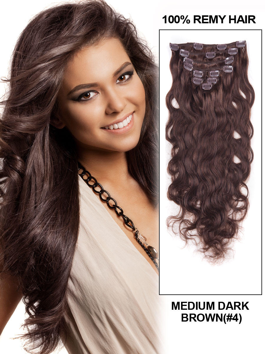 24 Inch 4 Medium Brown High Quality Clip In Indian Remy Human Hair