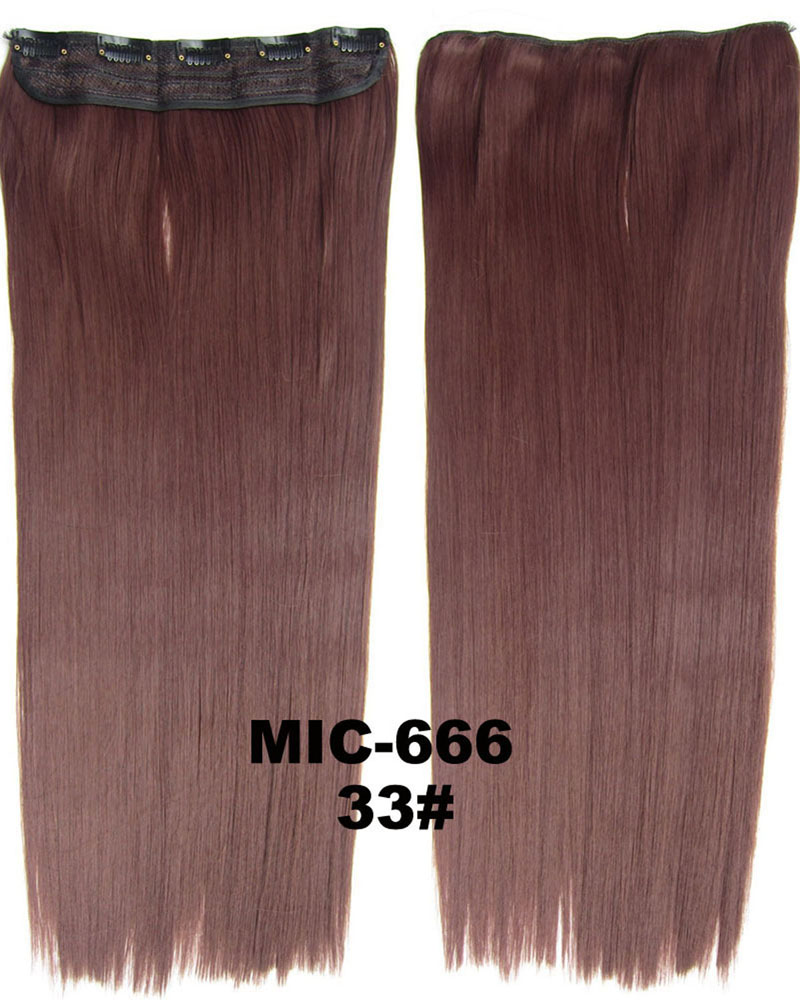 24 inch Acclaimed Straight Long One Piece 5 Clips Clip in Synthetic Hair Extension 33#100g