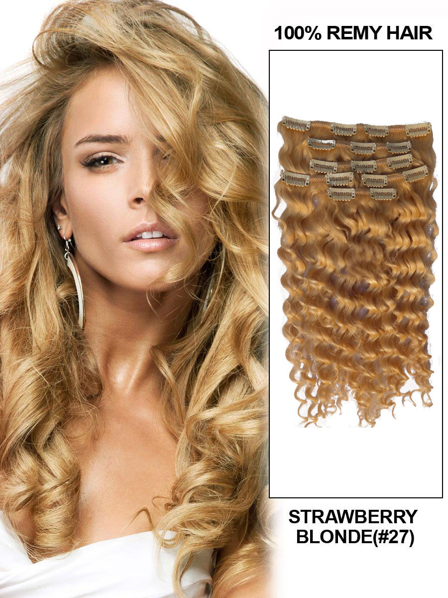 24 Inch Adorable 27 Strawberry Blonde Clip In Remy Hair Extensions