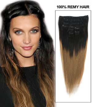24 Inch Ash Brown and Natural black Ombre Clip in Hair Extensions Two Tone Straight 9 Pieces