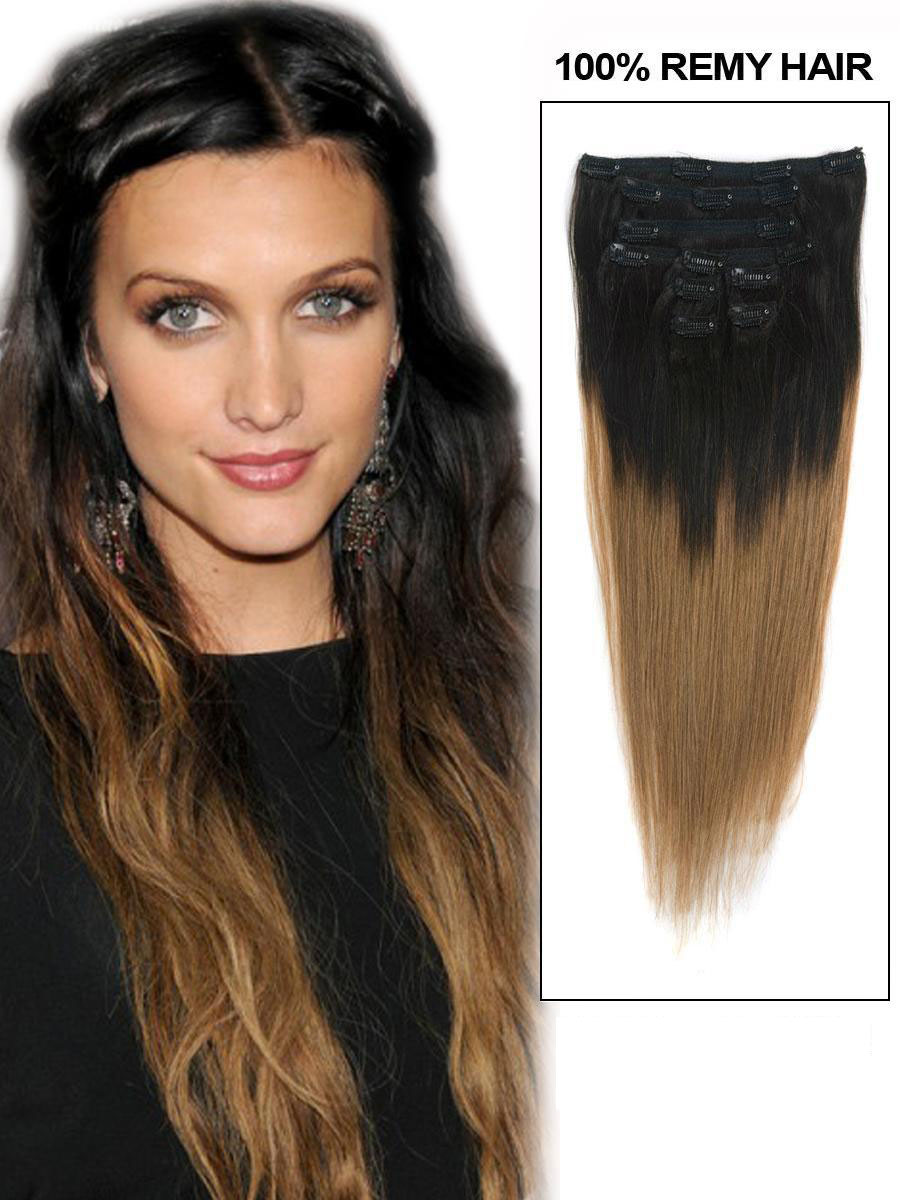 Inch ash brown and natural black ombre clip in hair extensions two 24 inch ash brown and natural black ombre clip in hair extensions two tone straight 9 pieces pmusecretfo Image collections