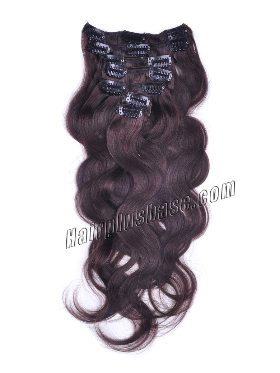 24 Inch Brunet Sets of #2 Dark Brown Clip In Human Hair Extensions Body Wave 9 Pcs no 1