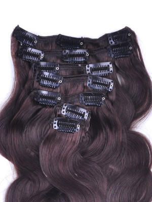 24 Inch Brunet Sets of #2 Dark Brown Clip In Human Hair Extensions Body Wave 9 Pcs no 2