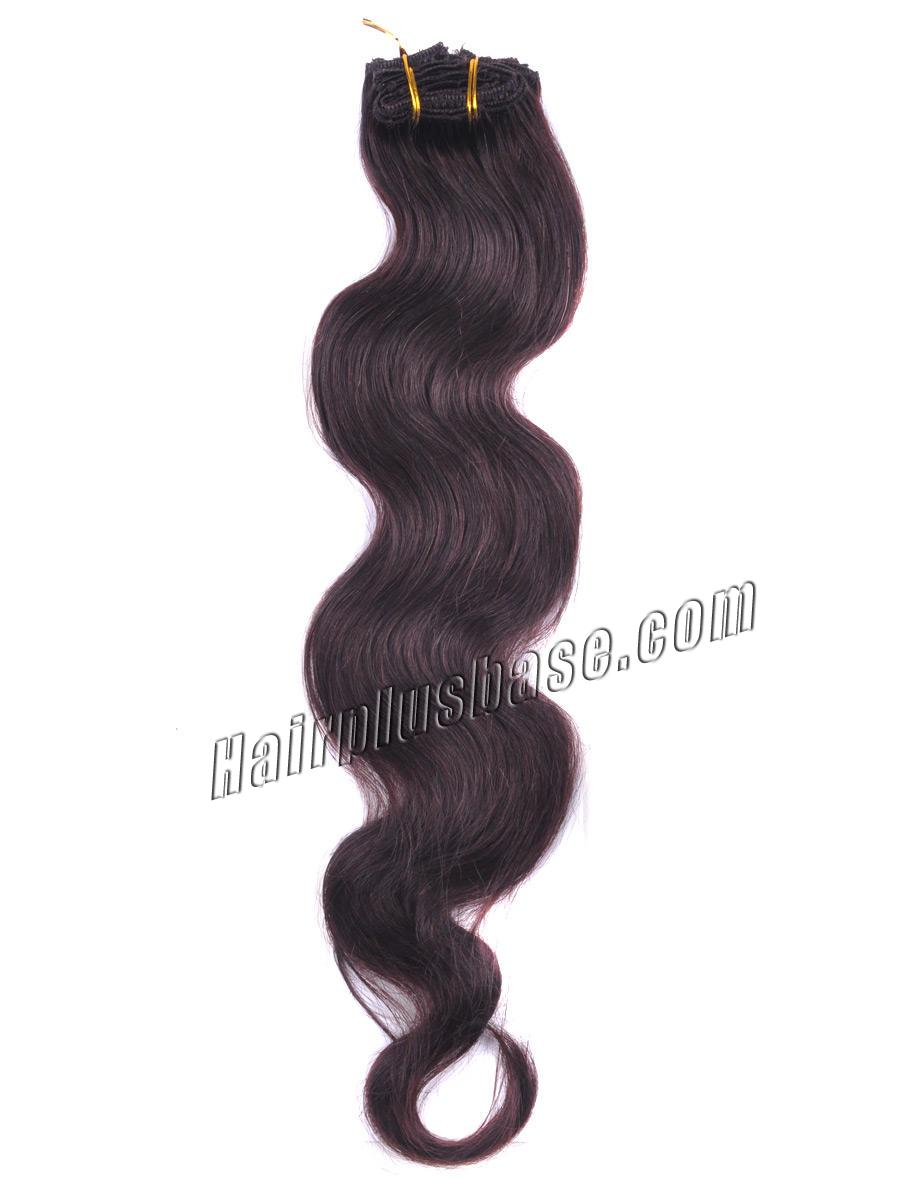 24 Inch Brunet Sets of #2 Dark Brown Clip In Human Hair Extensions Body Wave 9 Pcs no 3