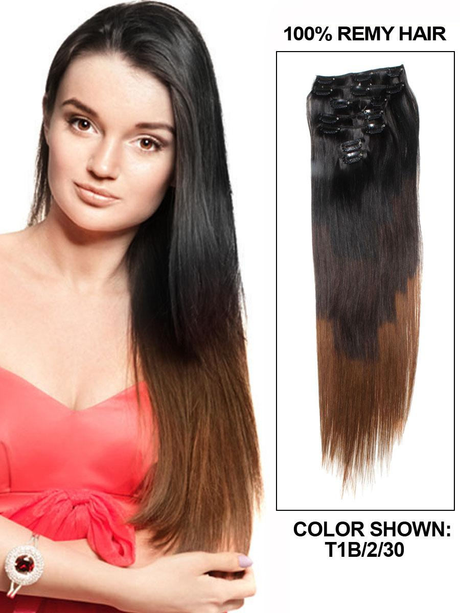 24 Inch Clean And Fahional Ombre Clip In Hair Extensions Three Tone