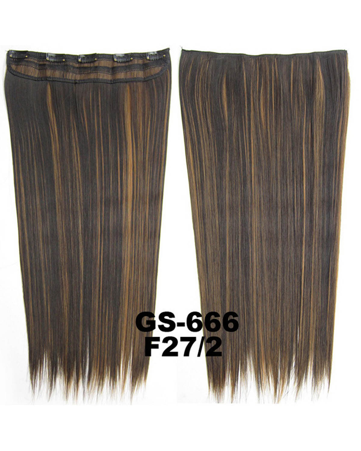 24 inch Dense Straight Long One Piece 5 Clips Clip in Synthetic Hair Extension F27/2