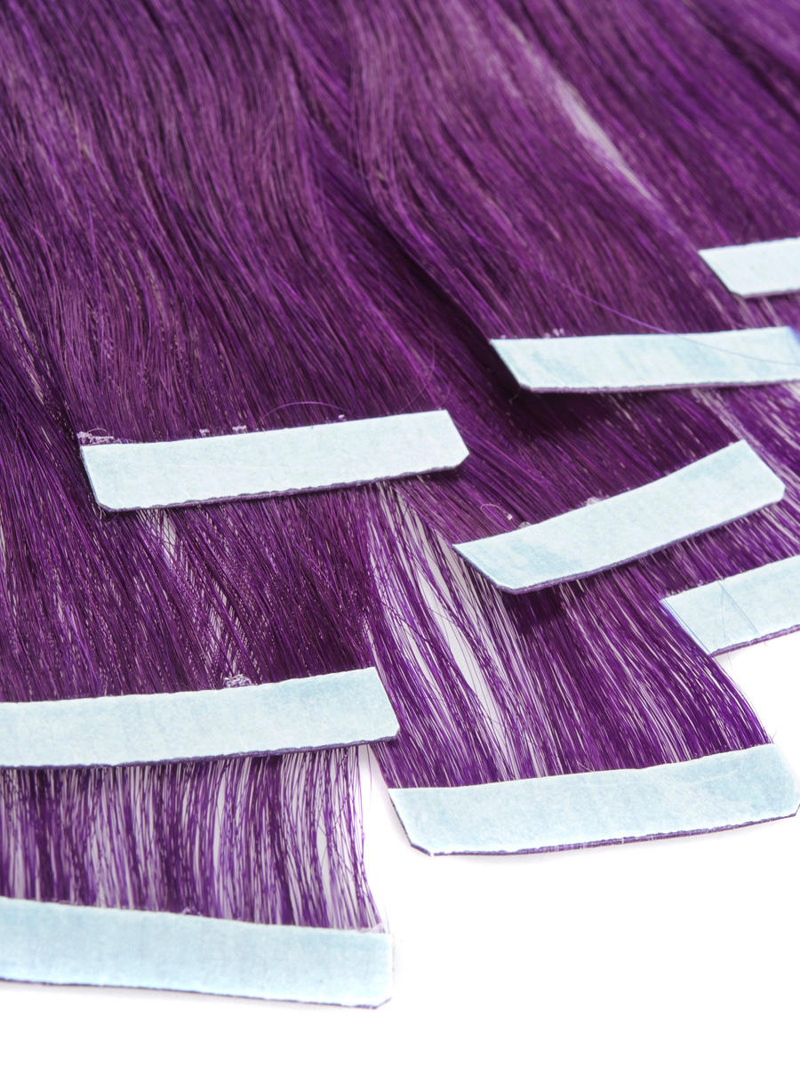 24 Inch Elegant Purple Tape In Hair Extensions Straight 10pcs