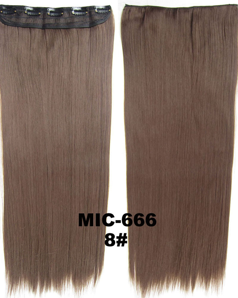 24 inch Fahsional and Clean  Straight Long One Piece 5 Clips Clip in Synthetic Hair Extension 8# 100g
