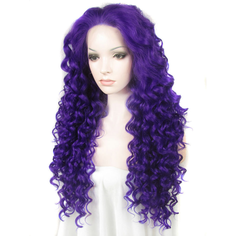 24 Inch Fashion Curly Blue Lace Front Glueless Synthetic Wigs