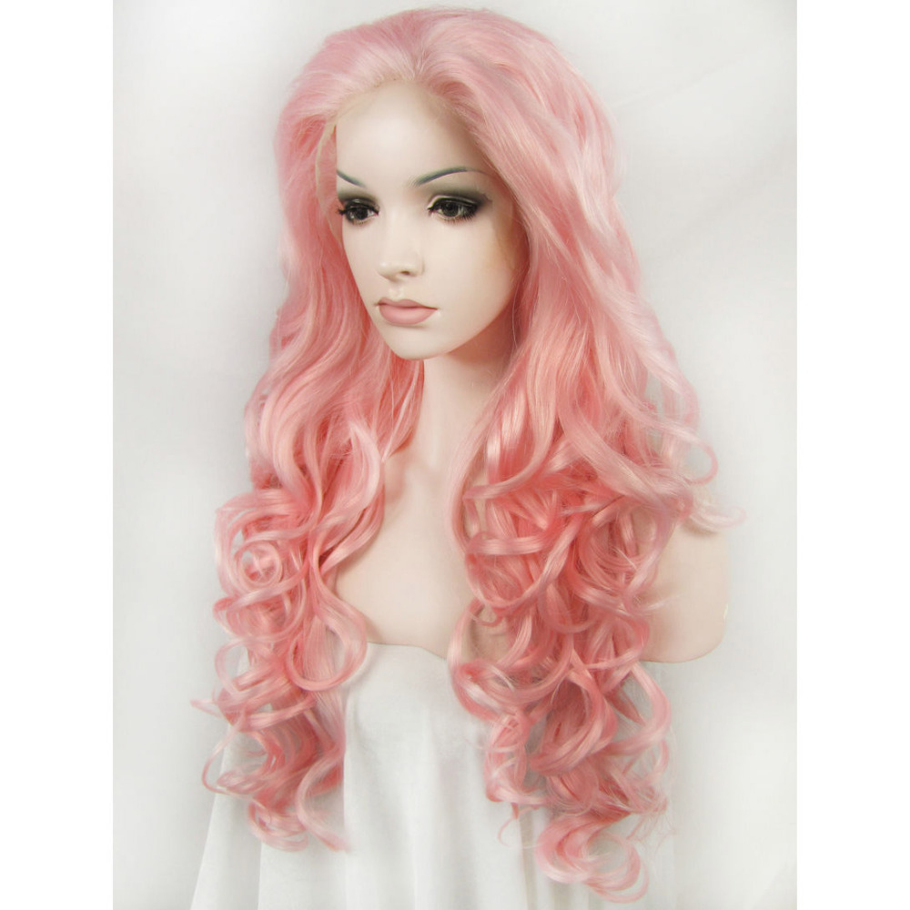 24 Inch Fashion Handemade Long Body Wavy Pink Lace Front Wig