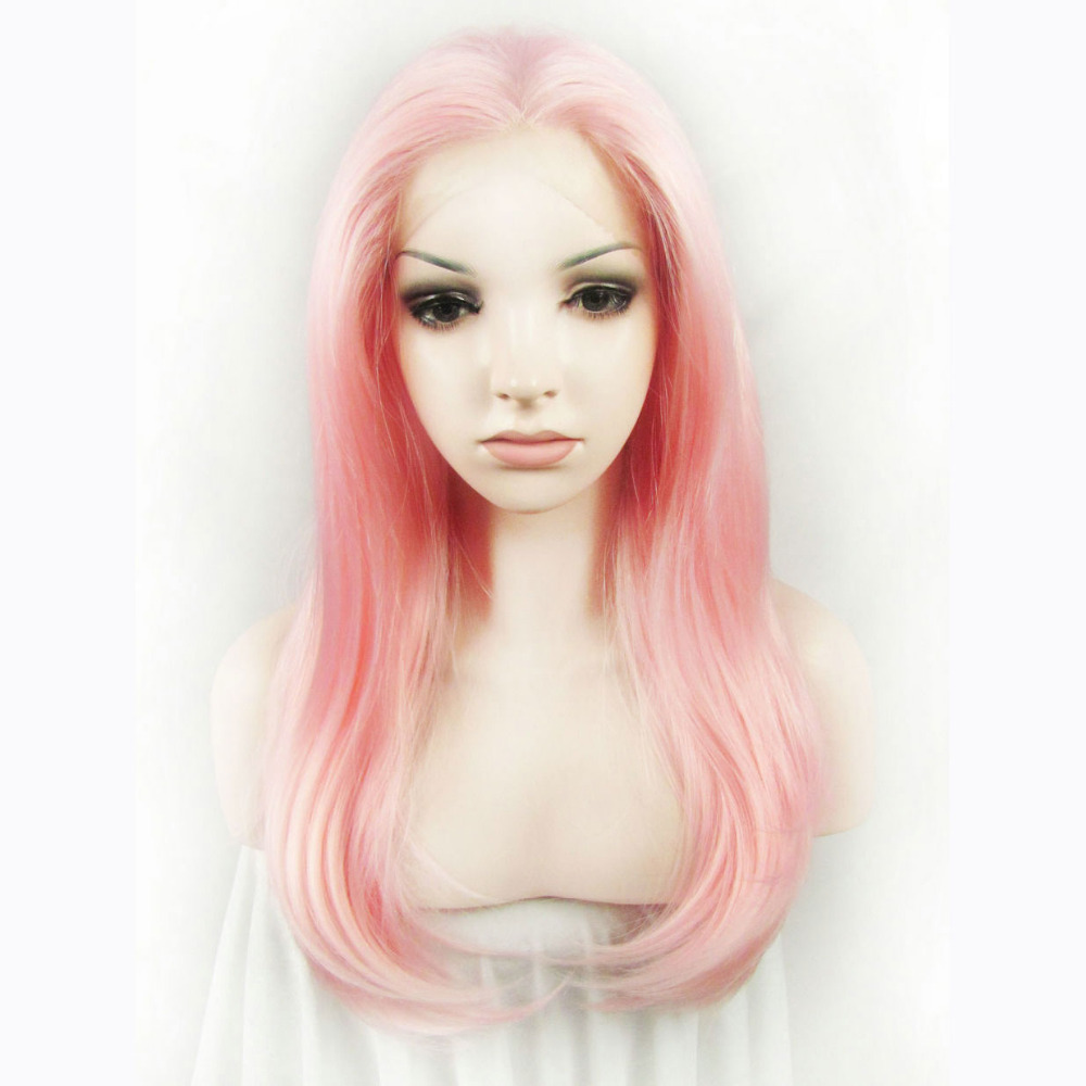 24 Inch Fashion Party Straight Pink Synthetic Lace Front Wig