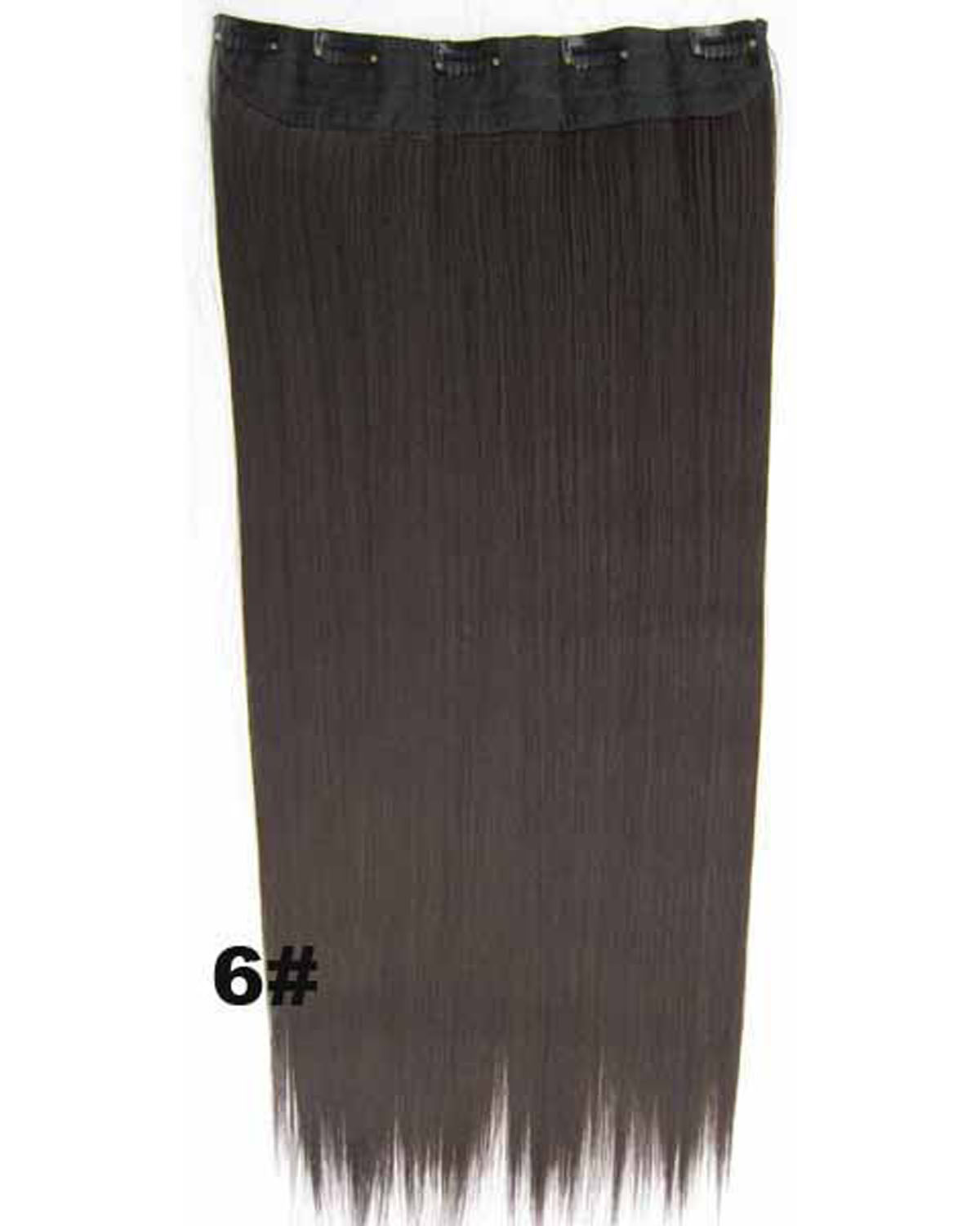 24 inch Fashional  Straight Long One Piece 5 Clips Clip in Synthetic Hair Extension 6#