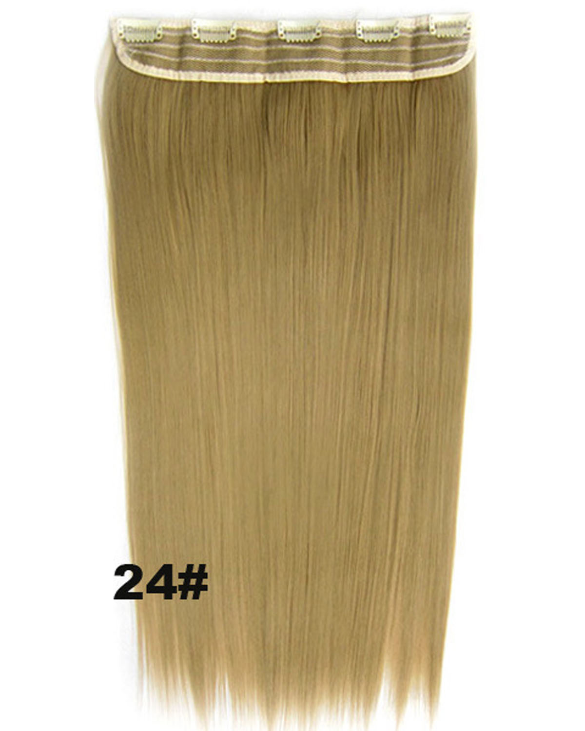 24 Inch Female Attractive Long and Straight Hot-Sale One Piece 5 Clips Clip in Synthetic Hair Extension 24#