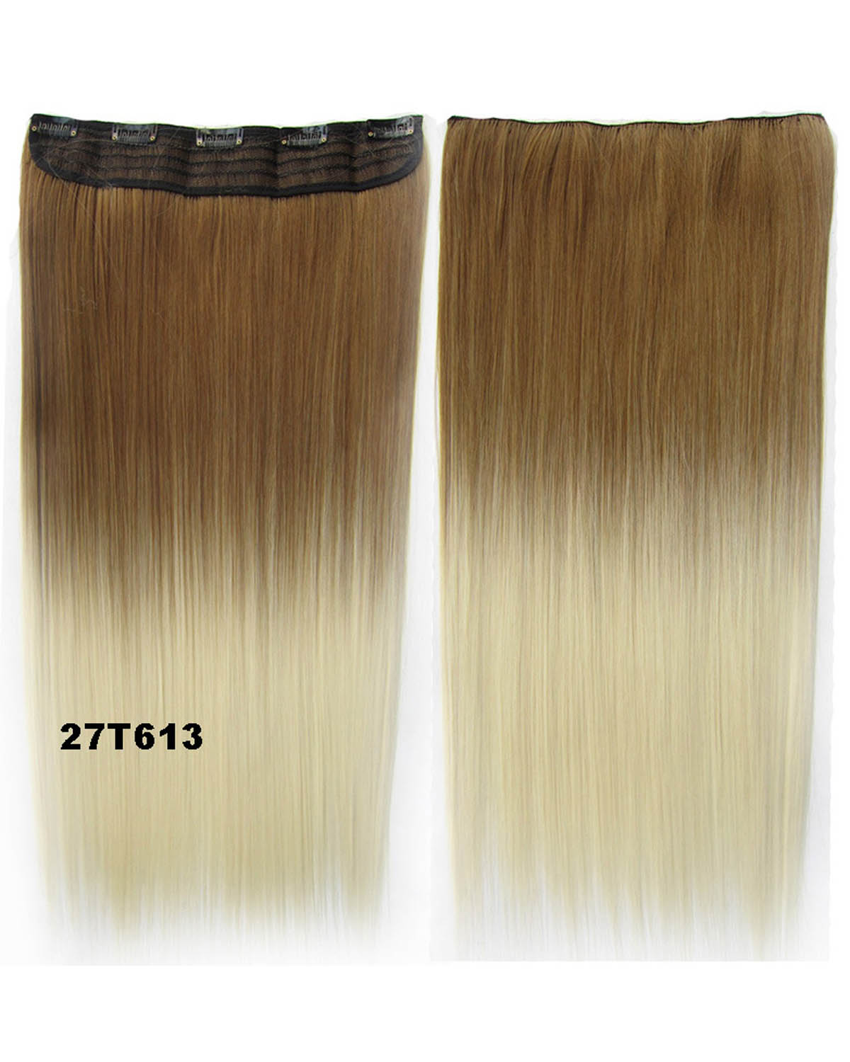 24 Inch Female Bright and Long Straight One Piece 5 Clips Clip in Synthetic Hair Extension Ombre27T613