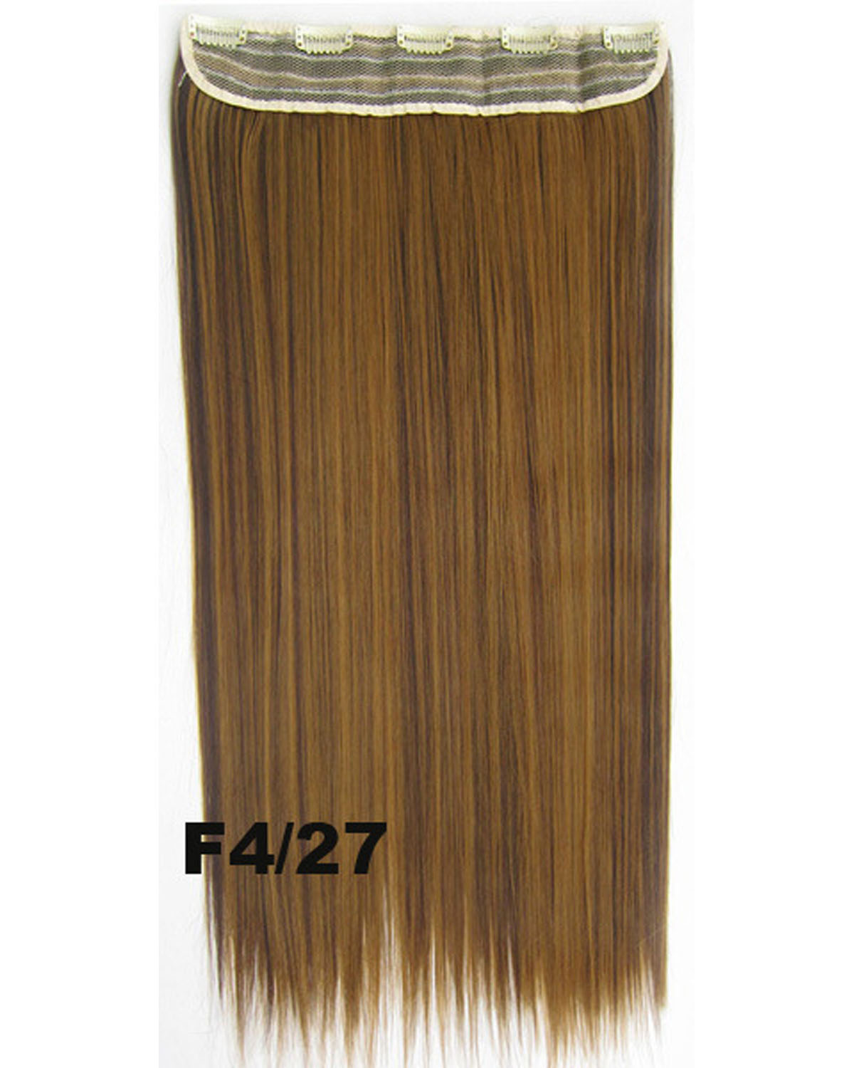 24 Inch Female Clean and Neat Long and Straight Hot-Sale One Piece 5 Clips Clip in Synthetic Hair Extension F4/27
