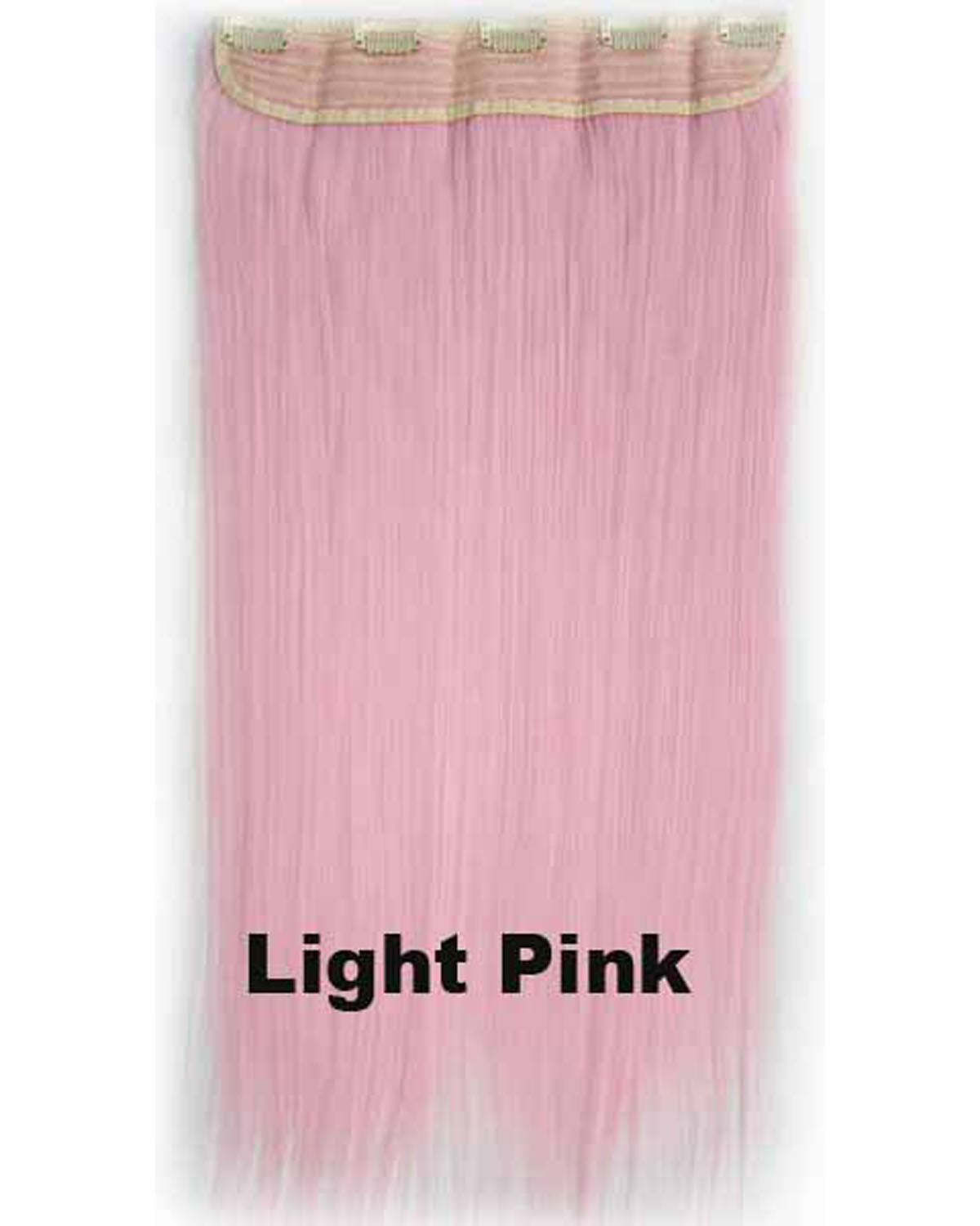24 Inch Female Colorful and Charming Long Straight One Piece 5 Clips Clip in Synthetic Hair Extension Light Pink