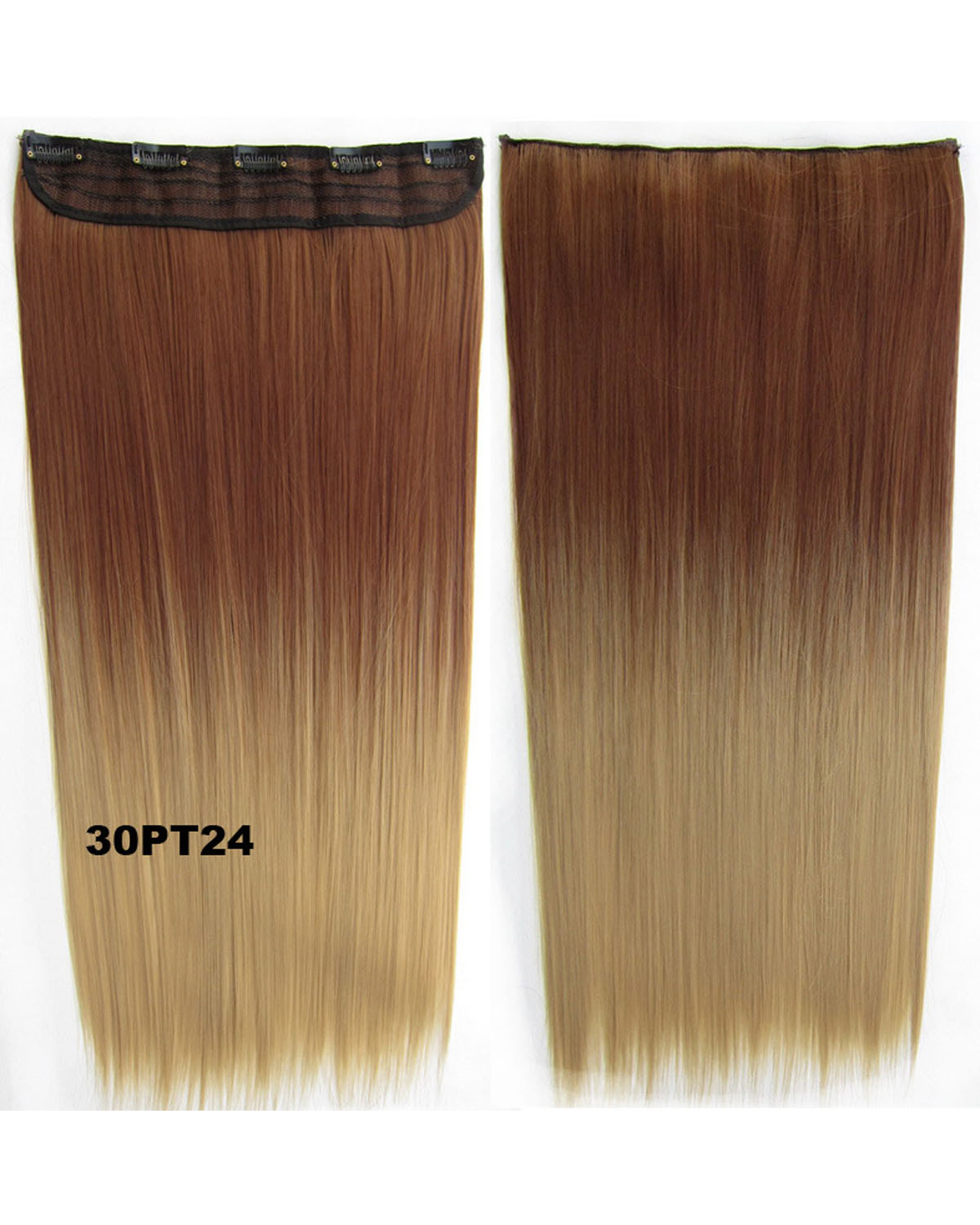 24 Inch Female Convenient Long Straight One Piece 5 Clips Clip in Synthetic Hair Extension Ombre BlackT27GS-666 30PT24