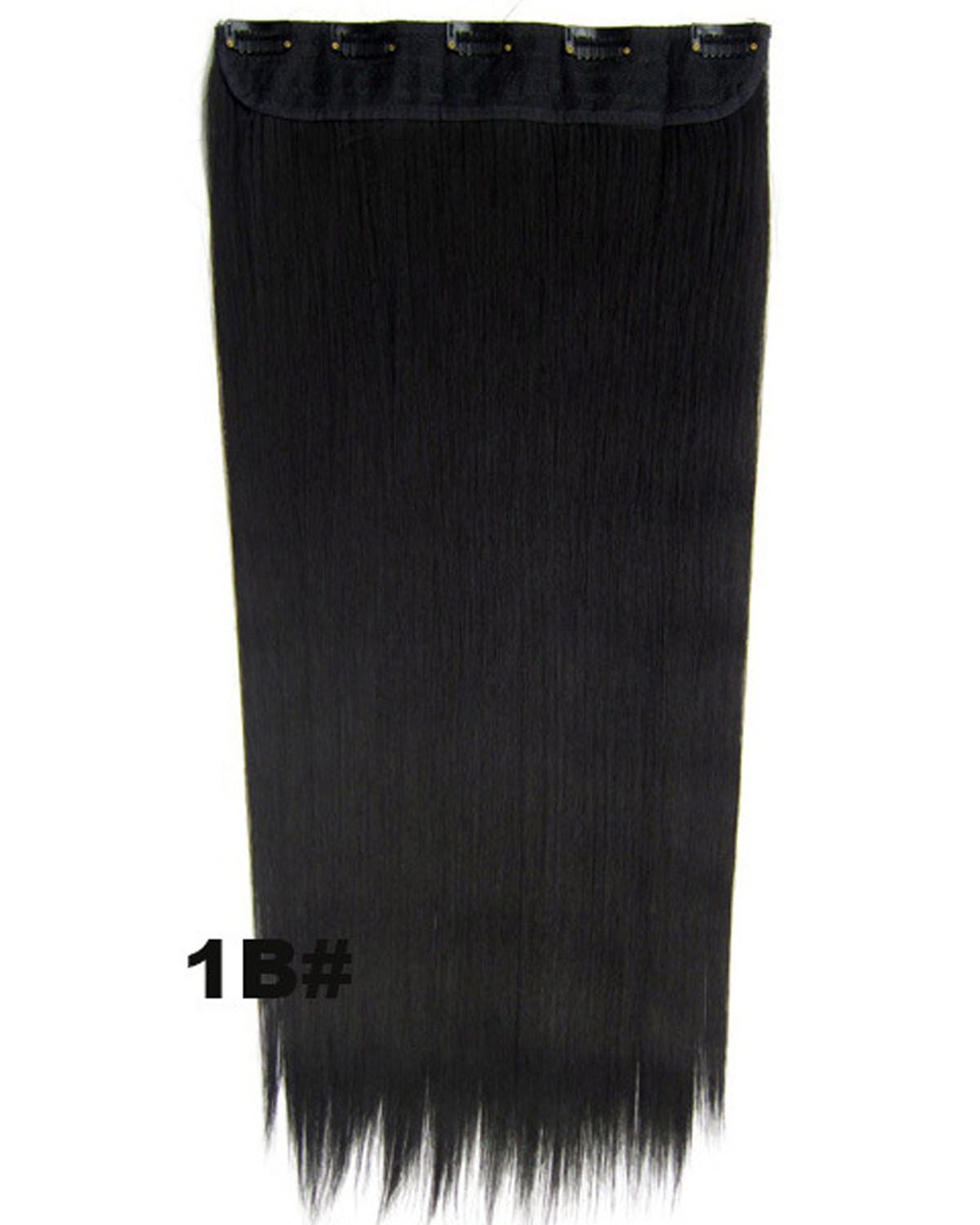 24 Inch Female  Delicate Long and Straight One Piece 5 Clips Clip in Synthetic Hair Extension 1B#