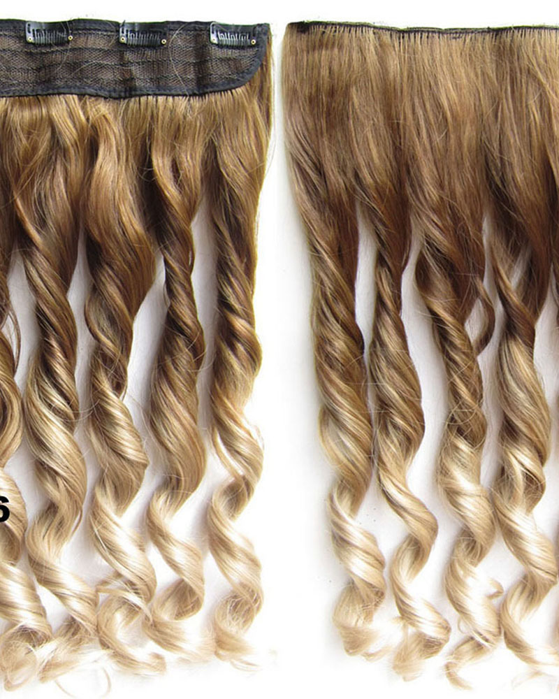 24 Inch Female Dreamy and Salable Body Wave Curly Long One Piece 5 Clips Clip in Synthetic Hair Extension Ombre10T16