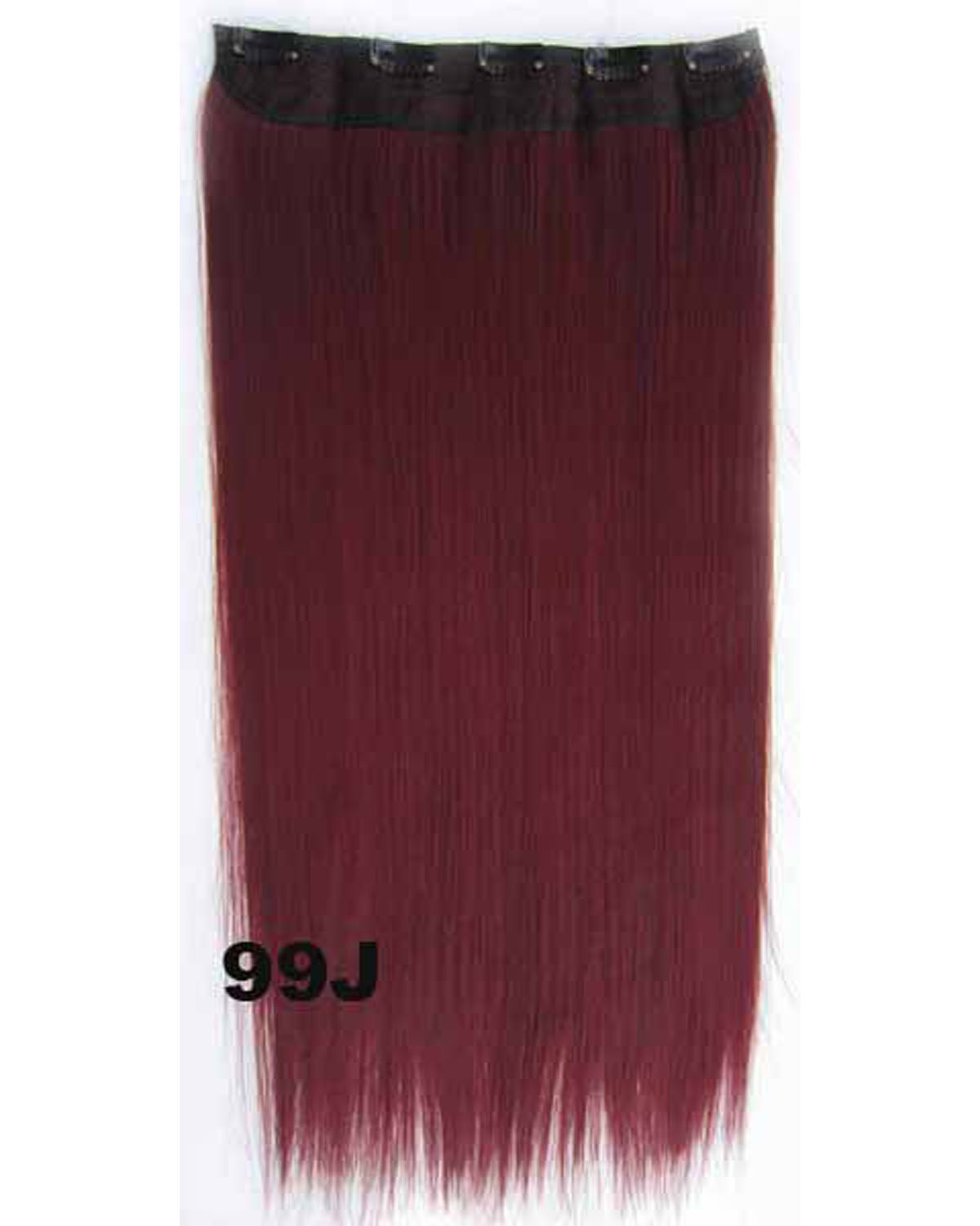 24 Inch Female Exquisite Long and Straight Hot-Sale One Piece 5 Clips Clip in Synthetic Hair Extension 99J