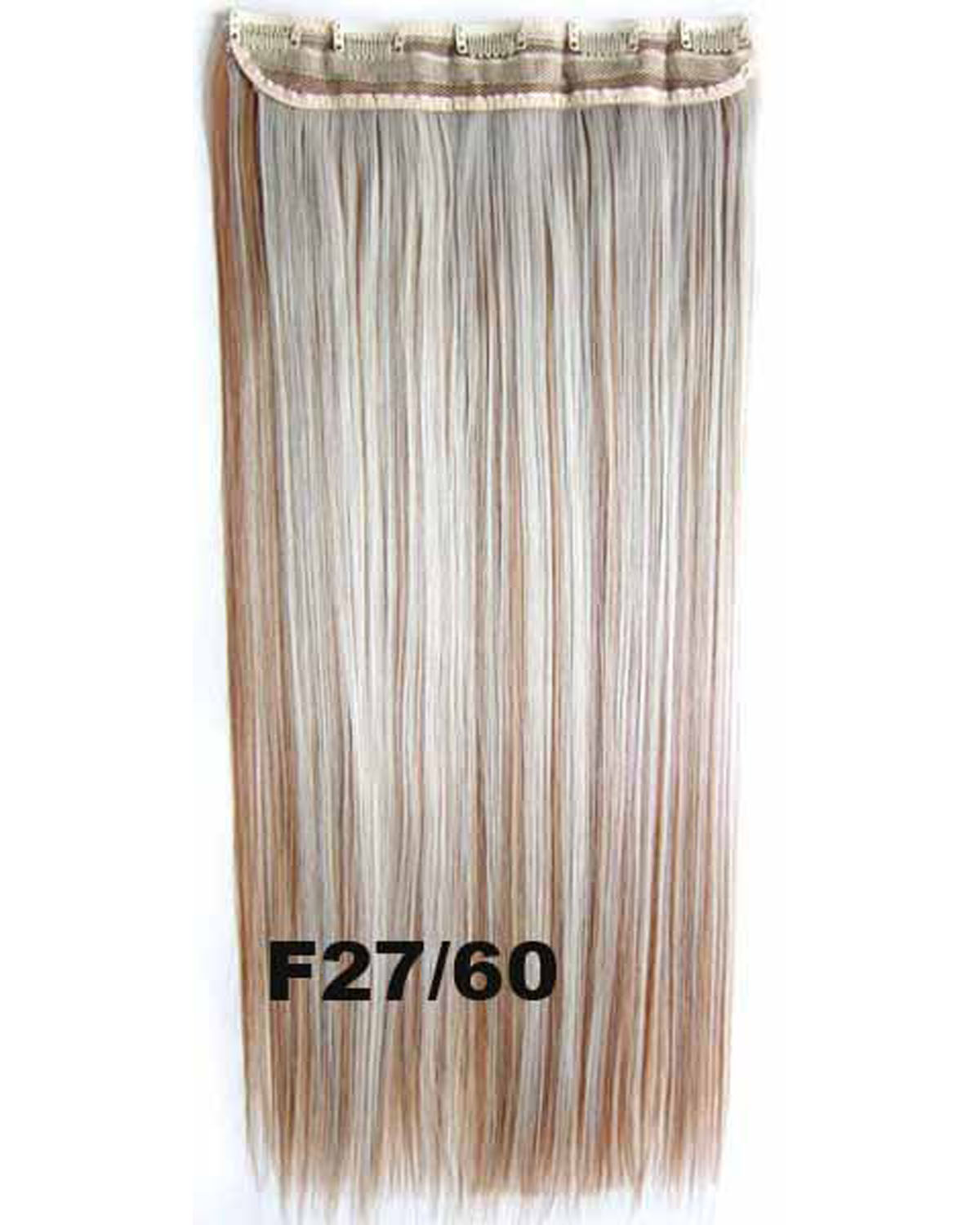 24 Inch Female Good-looking Straight Long One Piece 5 Clips Clip in Synthetic Hair Extension  F27/60