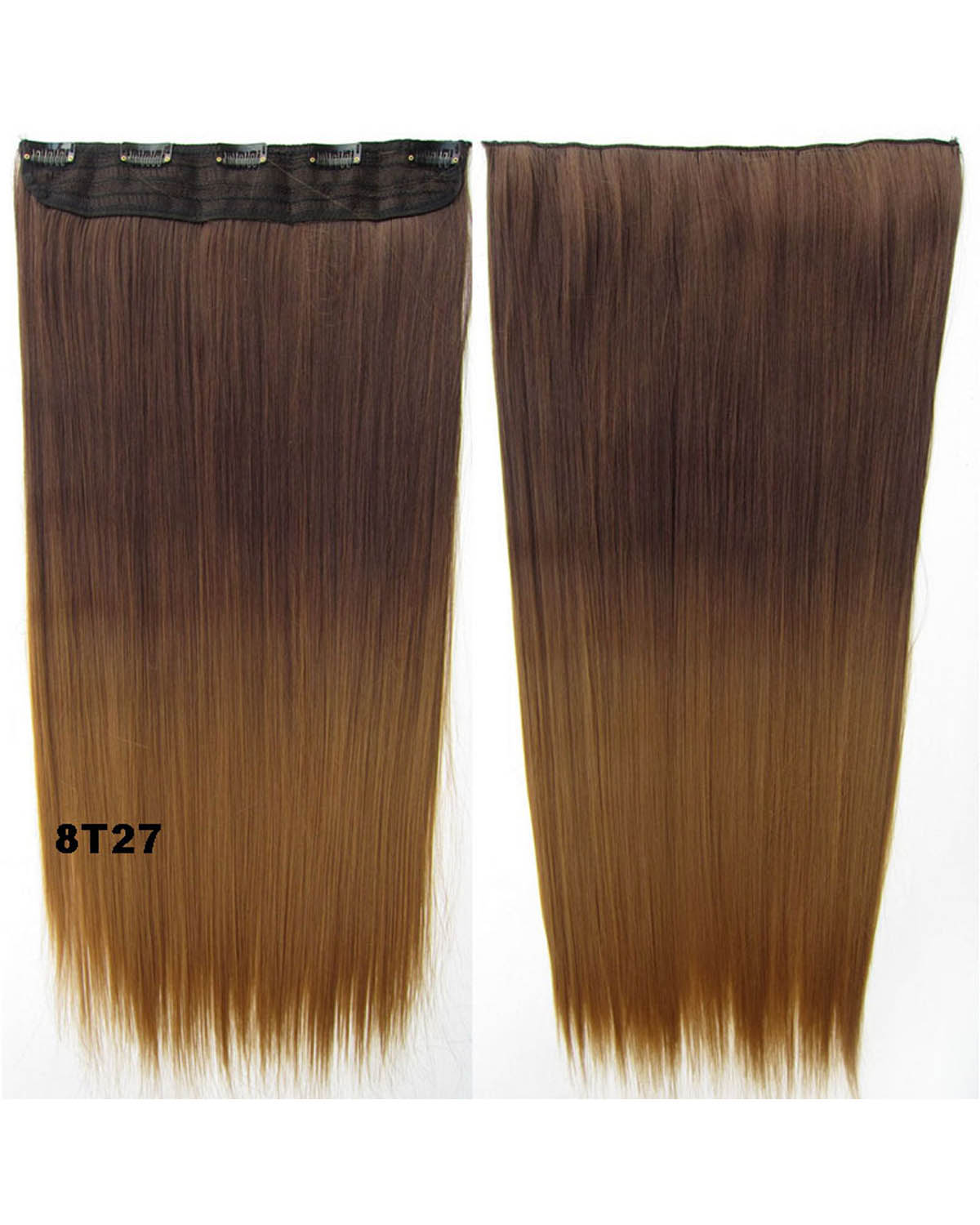 24 Inch Female Korean Style and Fashional Straight One Piece 5 Clips Clip in Synthetic Hair Extension Ombre 8T27