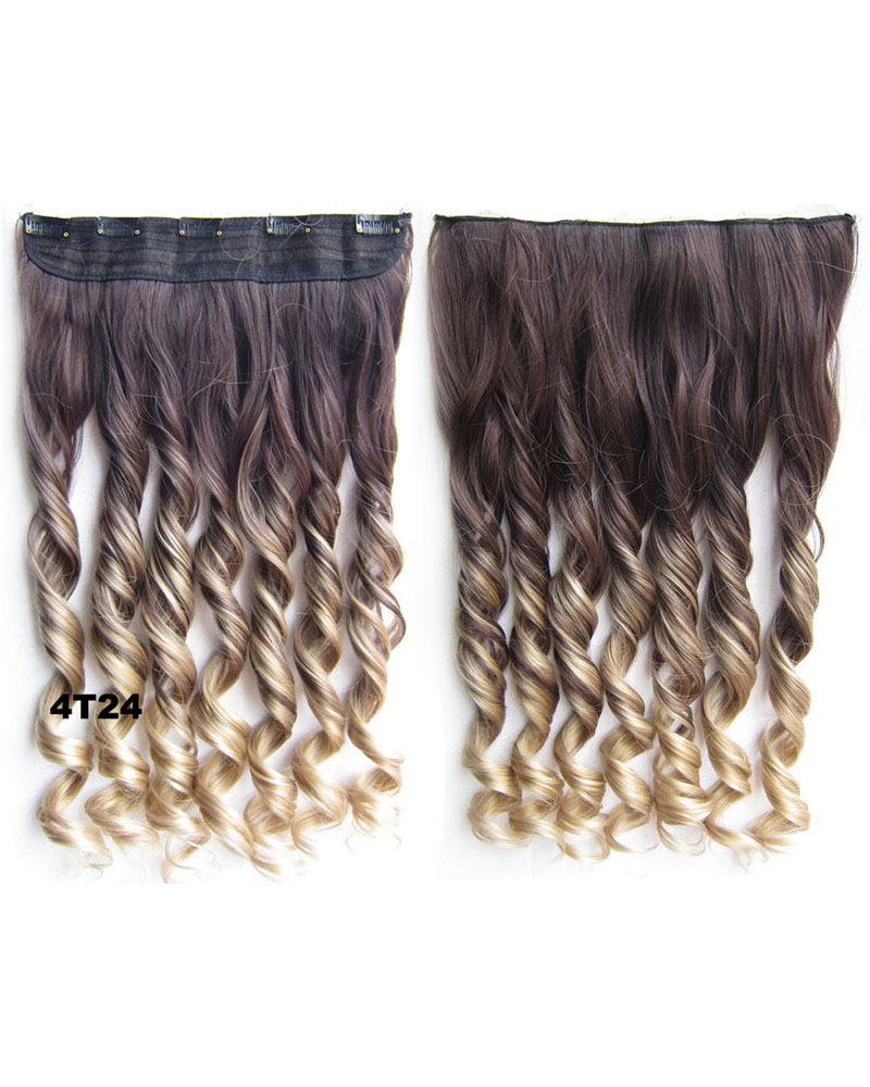 24 Inch Female Lustrous and Smooth Body Wave Curly Long One Piece 5 Clips Clip in Synthetic Hair Extension Ombre 4T24