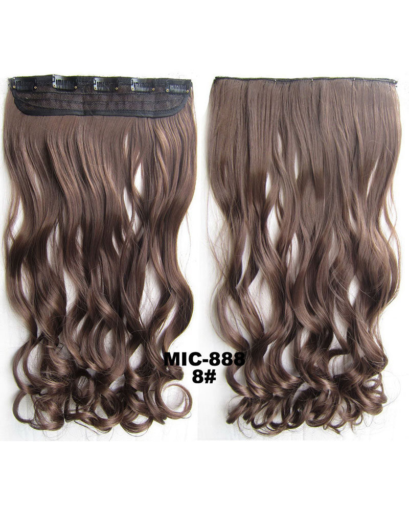 24 Inch Female Mysterious Salable Body Wave Curly Long One Piece 5 Clips Clip in Synthetic Hair Extension8# 100g