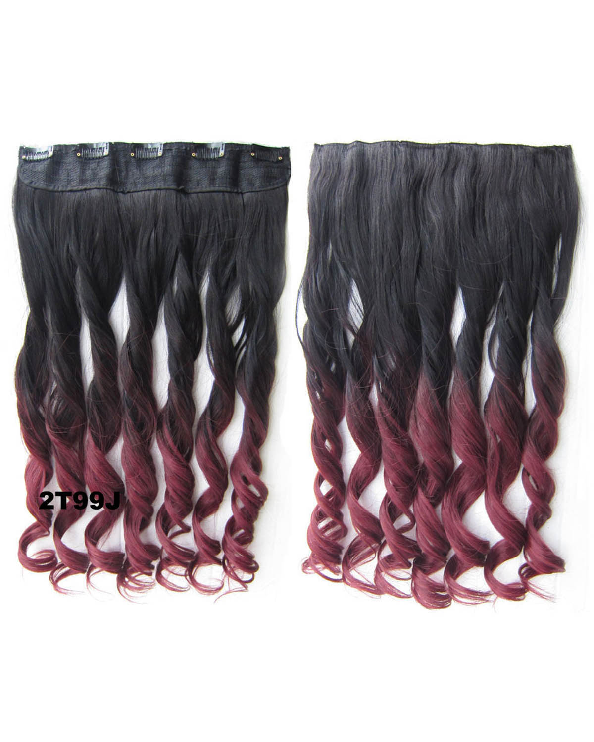 24 Inch Female Salable and Glowing Body Wave Curly Long One Piece 5 Clips Clip in Synthetic Hair Extension Ombre 2T99J