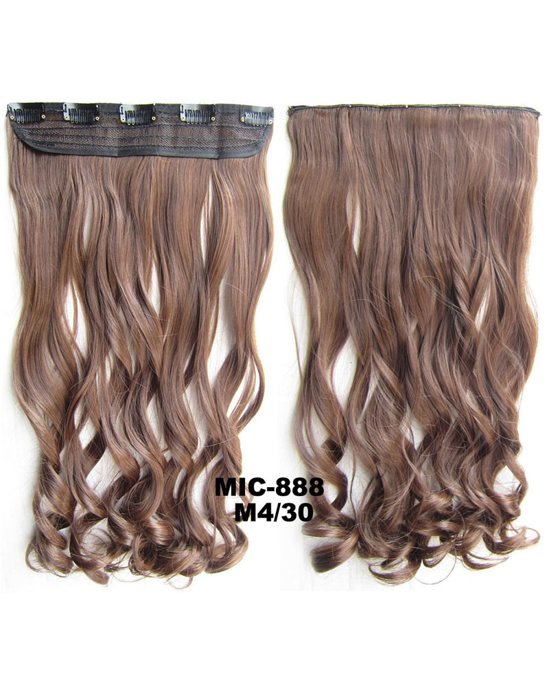 24 Inch Female Salable and Good Quality  Body Wave Curly Long One Piece 5 Clips Clip in Synthetic Hair Extension M4/30 100g