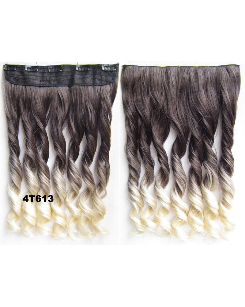 24 Inch Female Salable Clean Body Wave Curly Long One Piece 5 Clips Clip in Synthetic Hair Extension Ombre dip dye 4T613