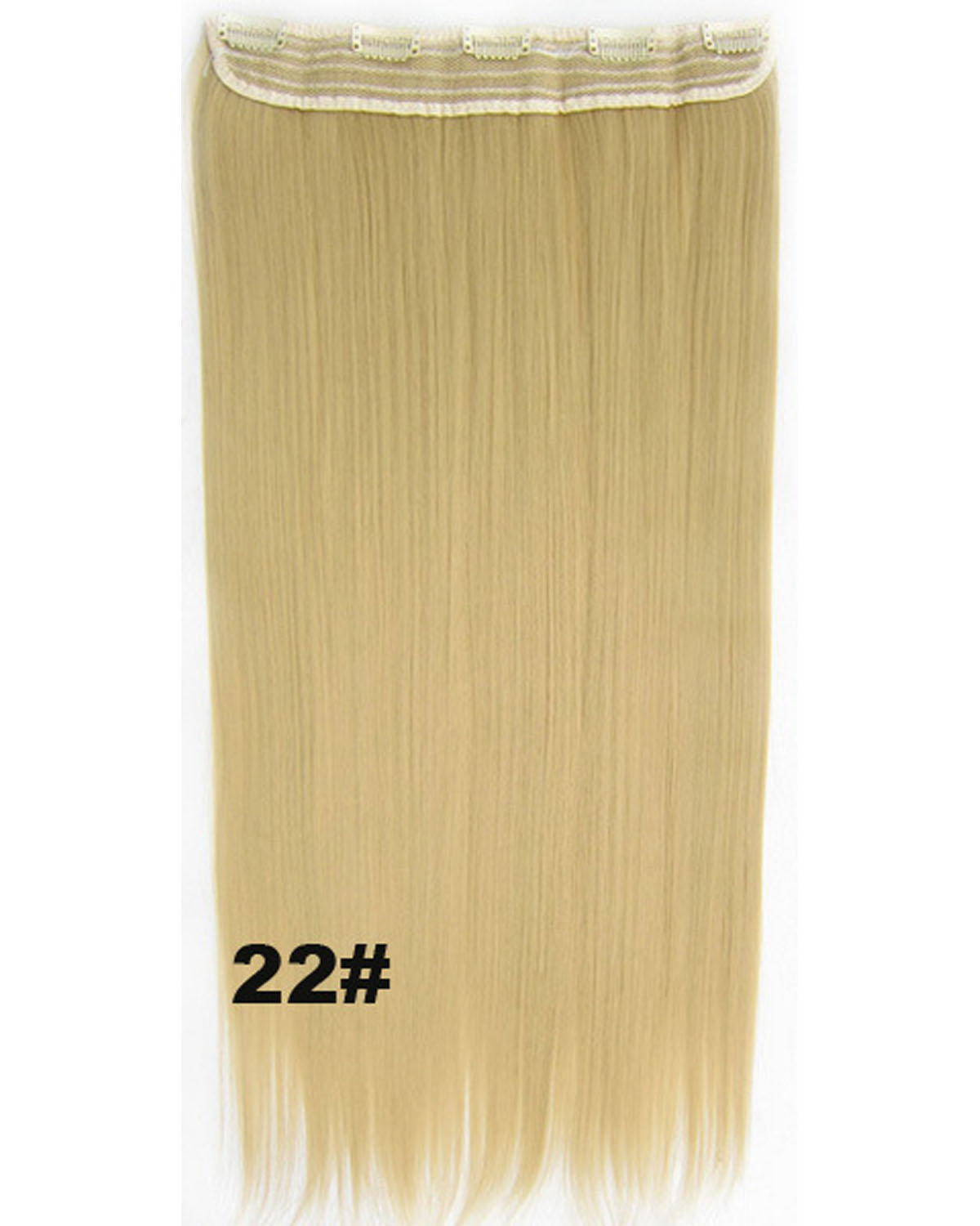 24 Inch Female Shining Long and Straight Hot-Sale One Piece 5 Clips Clip in Synthetic Hair Extension  22#