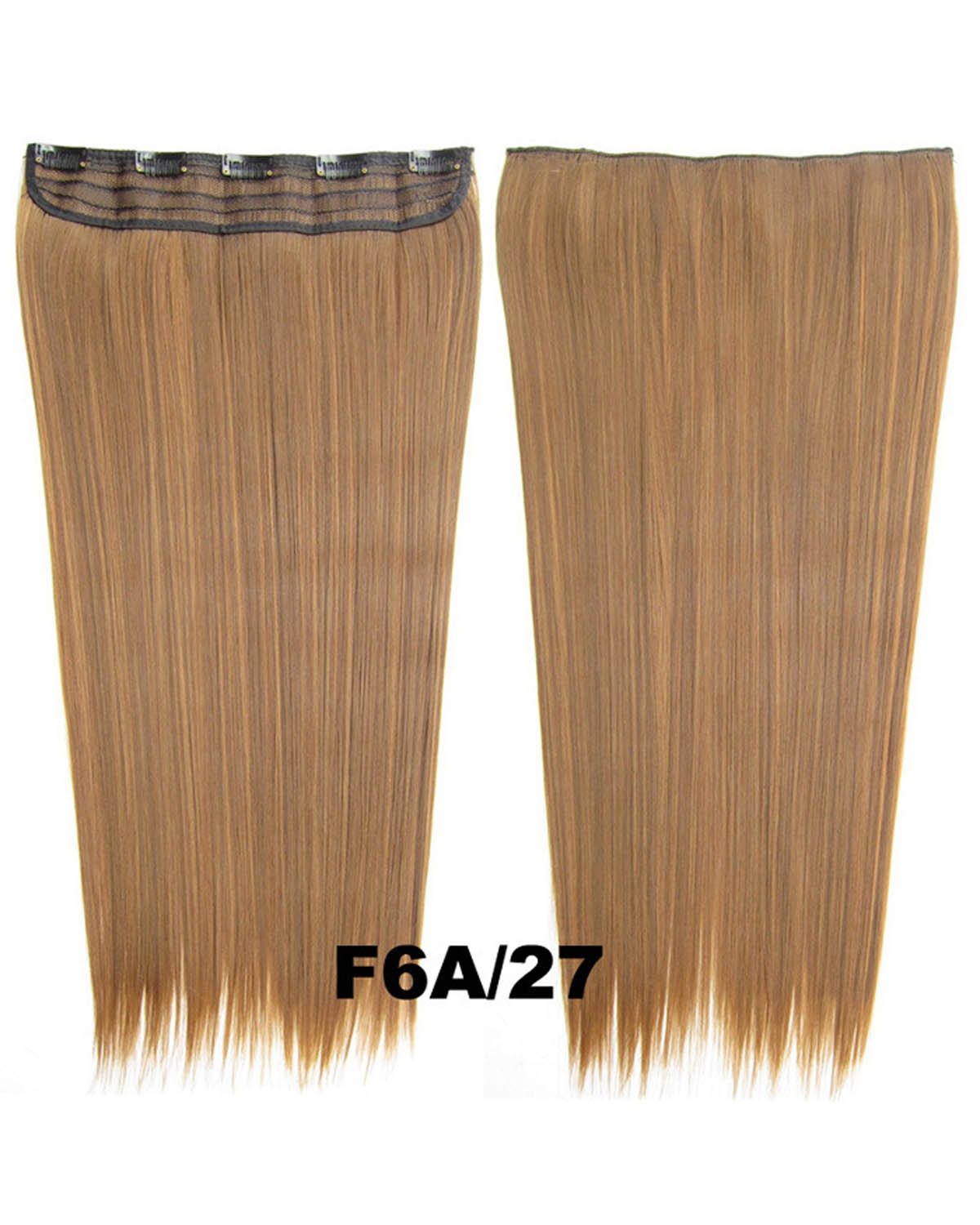 24 Inch Female Smart Straight Long One Piece 5 Clips Clip in Synthetic Hair Extension F6A/27