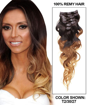 24 Inch Fine Ombre Clip In Hair Extensions Three Tone Body Wave 9 Pieces