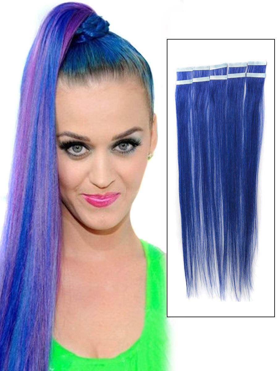 24 Inch Funky Blue Tape In Hair Extensions Straight 10pcs