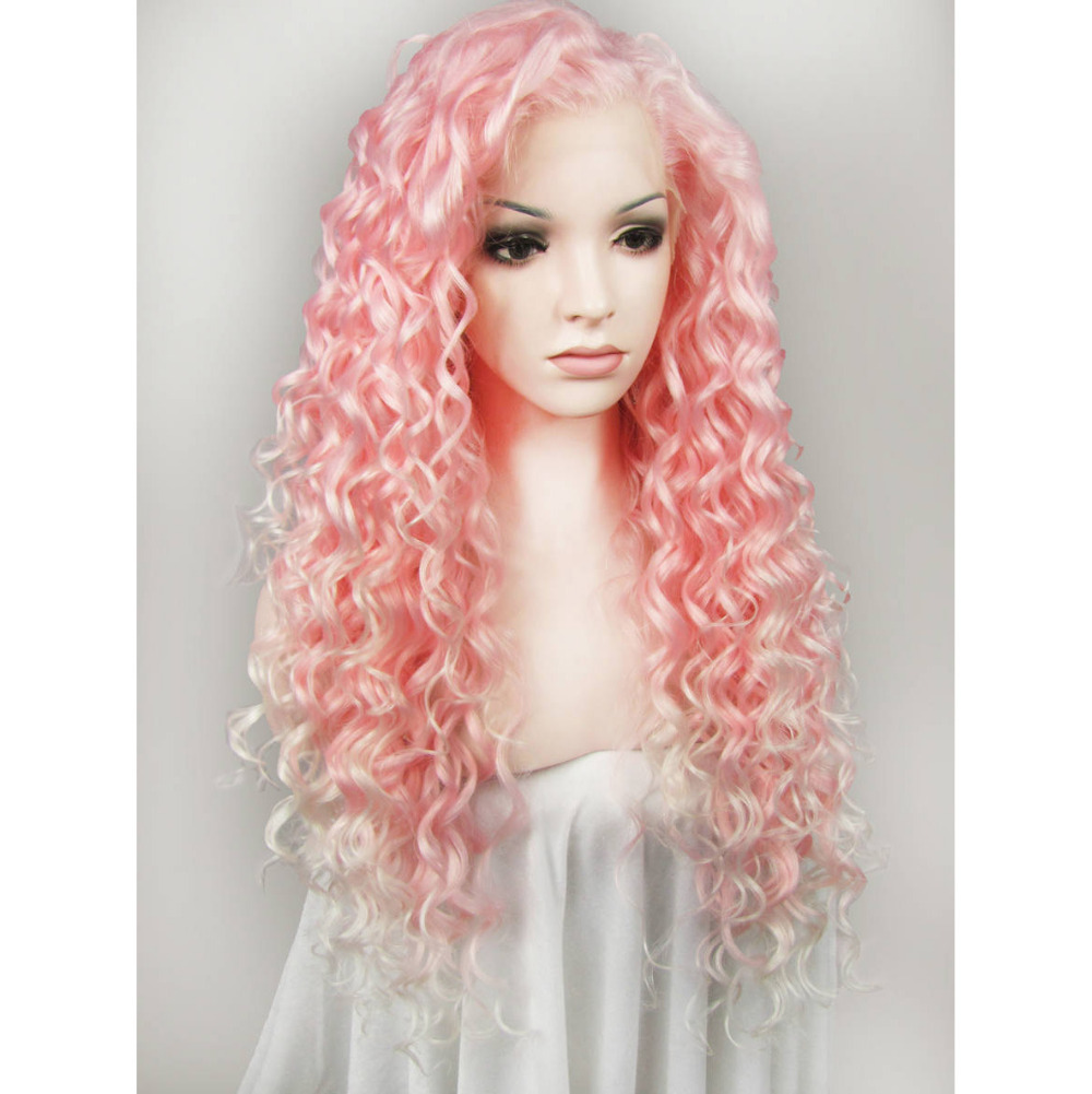 24 Inch Glueless Fashion Long Deep Wavy Pink Lace Front Wig