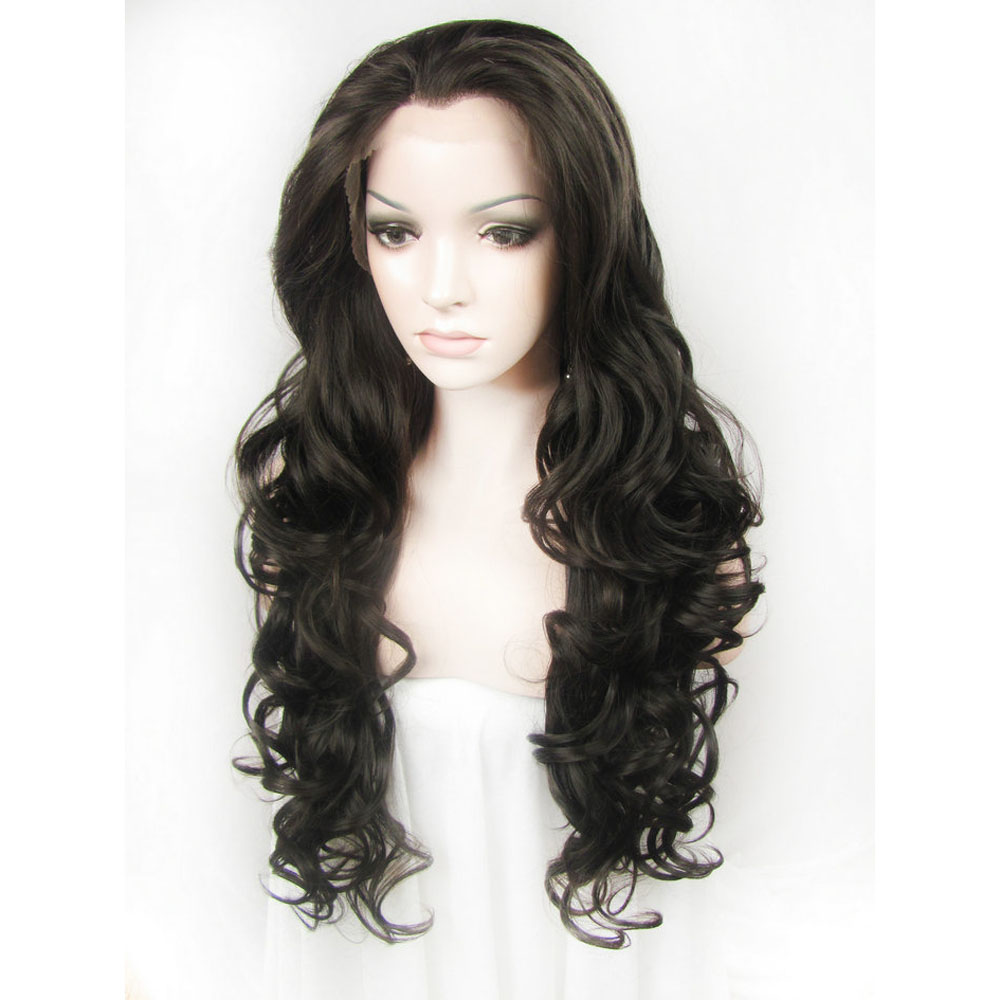 24 Inch Glueless Long Body Wavy Black Synthetic Lace Front Wig