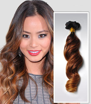 24 Inch Golden Ombre Clip In Human Hair Extensions Three Tone Body Wave 9pcs