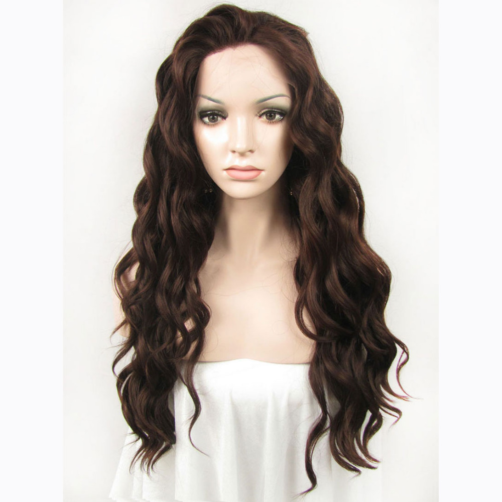 24 Inch Handmade Fashion Sexy Body Wavy Brown Lace Front Wig