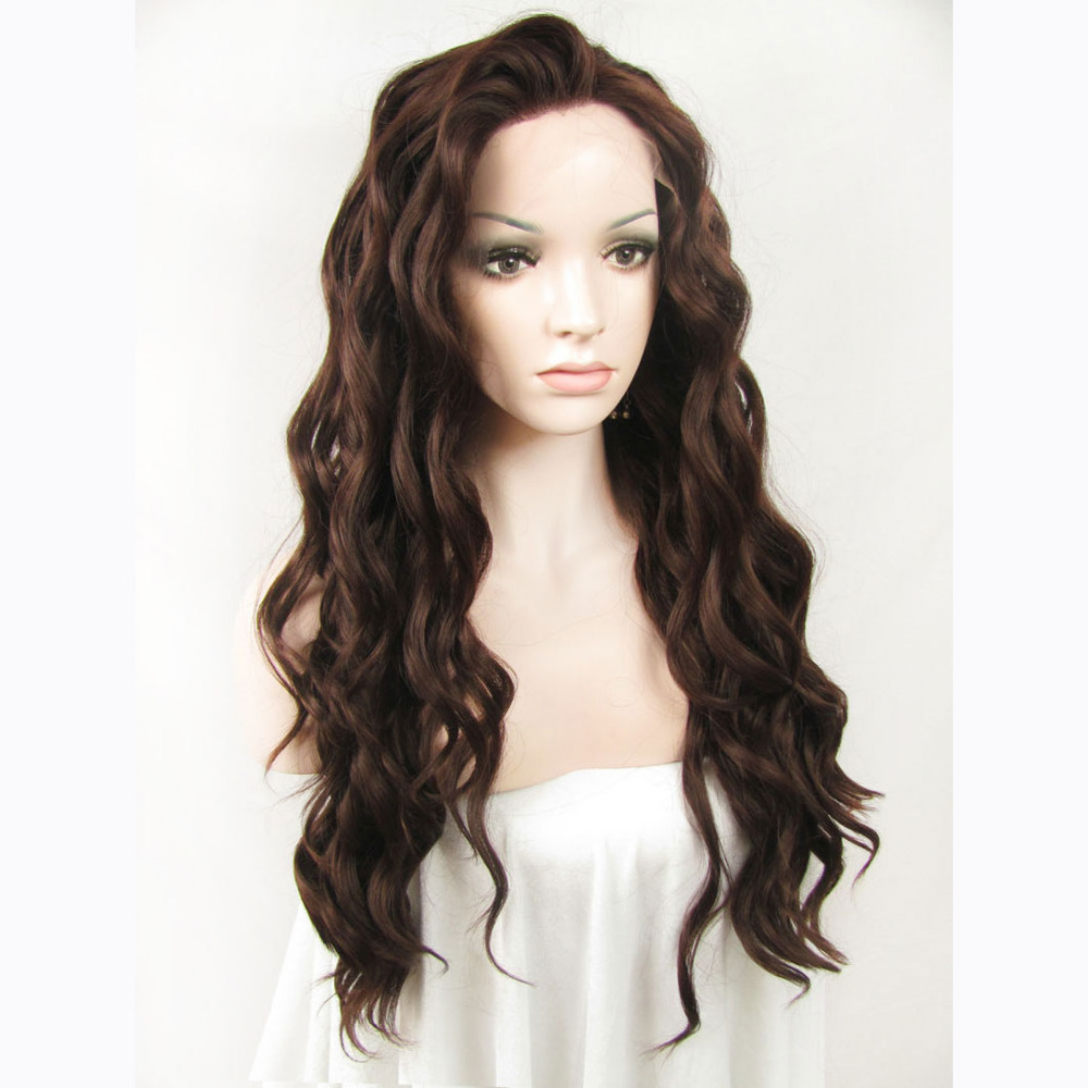 24 Inch Handmade Fashion Sexy Body Wavy Brown Lace Front Wig 1