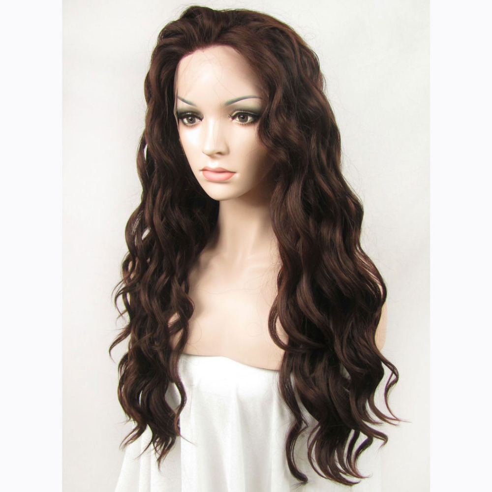 24 Inch Handmade Fashion Sexy Body Wavy Brown Lace Front Wig 2