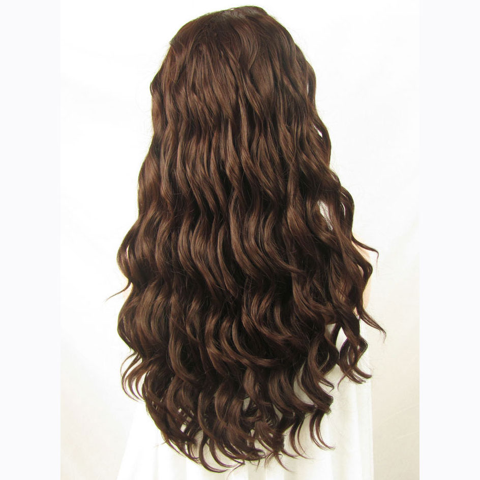 24 Inch Handmade Fashion Sexy Body Wavy Brown Lace Front Wig 3