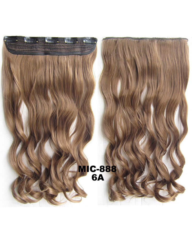 24 Inch Lady Curly Wave One Piece 5 Clips Clip In Synthetic Hair