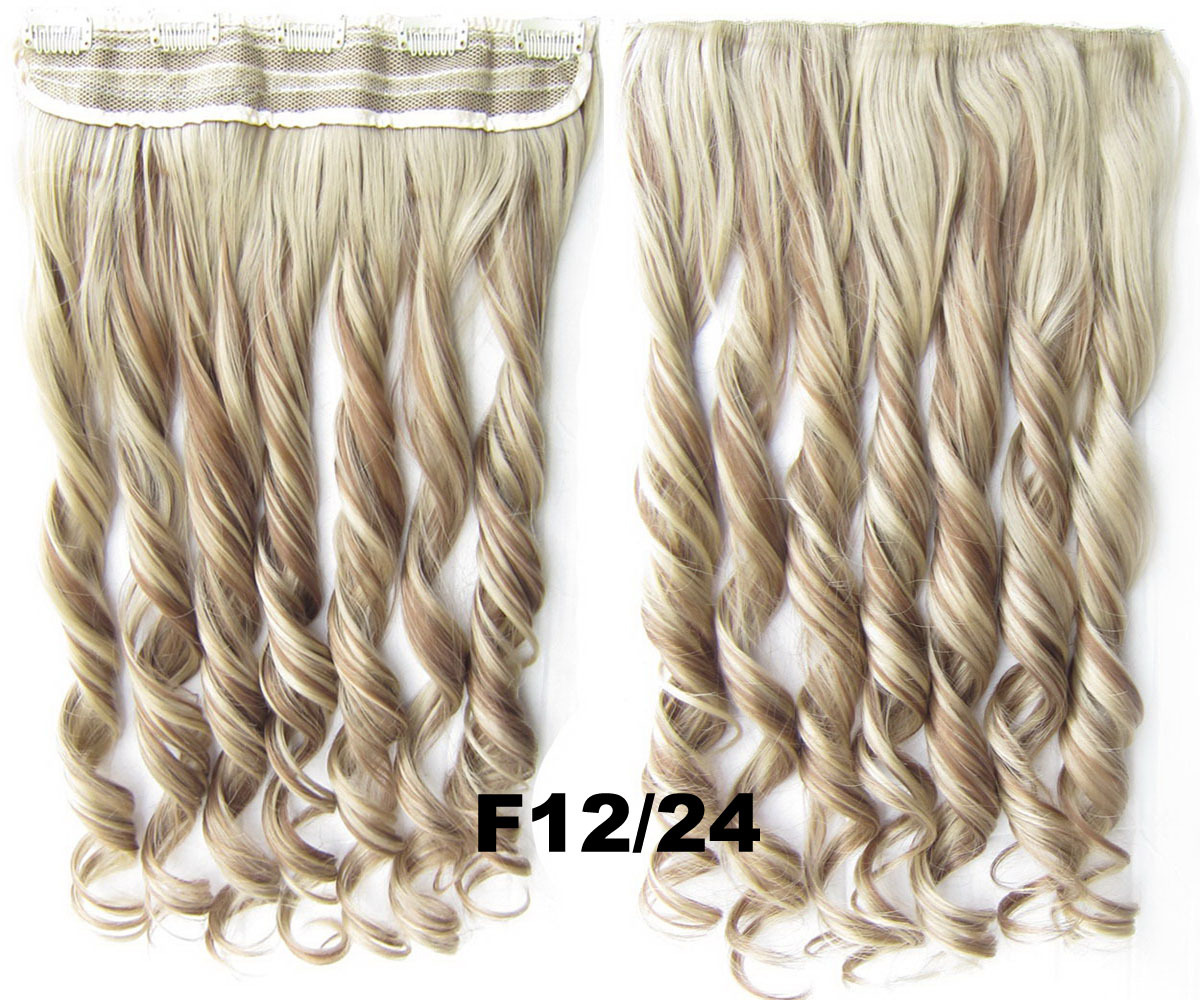 24 Inch Lady Decent  Body Wave Curly Long One Piece 5 Clips Clip in Synthetic Hair Extension F12/24