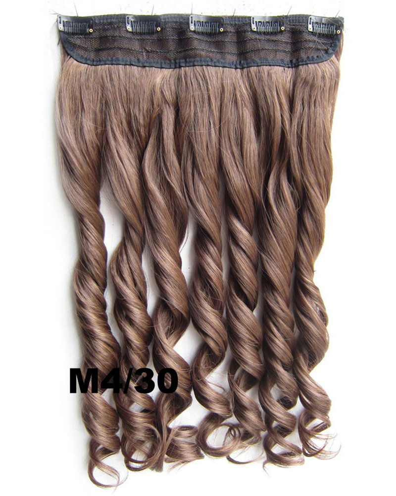 24 Inch Lady Elegant Body Wave Curly Long One Piece 5 Clips Clip in Synthetic Hair Extension  M4/30